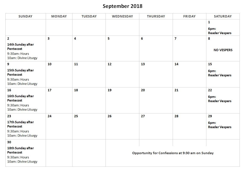 September 2018: calendar and luncheon | Saint Innocent of
